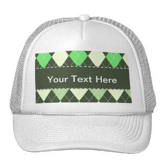 Dark & Light Green Argyle Pattern Mesh Hat