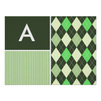 Dark & Light Green Argyle Pattern Posters