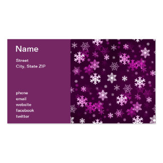 Dark Lilac Snowflakes Business Card Templates