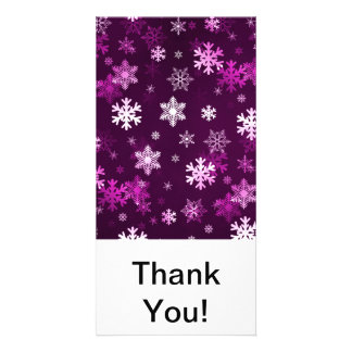 Dark Lilac Snowflakes Personalized Photo Card