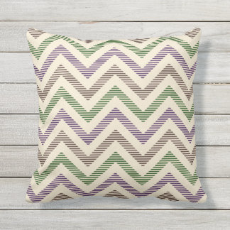 Dark Lilac Stripy Chevron Outdoor Cushion