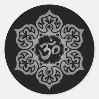 Dark Lotus Flower Om Round Sticker