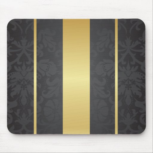 Dark Luxury Floral Damask With Golden Stripes Mousepad