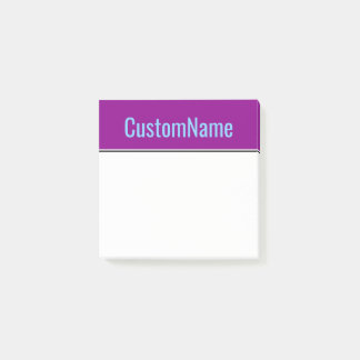 Dark Magenta Background + Light Sky Blue Name Post-it Notes