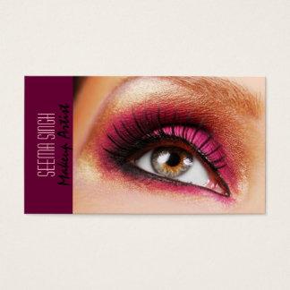 Dark Magenta eyes makeup artist Business Card