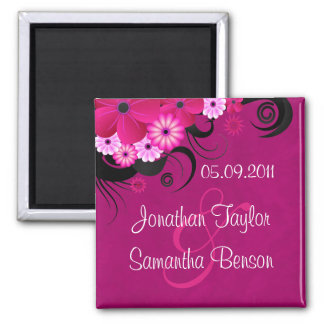 Dark Magenta Fuchsia Floral Save The Date Magnets