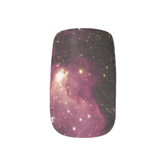 Dark Magenta Outer Space Nebula Minx Nail Art