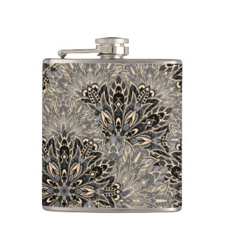 Dark mandala pattern. hip flask