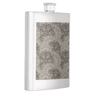 Dark mandala pattern. hip flask