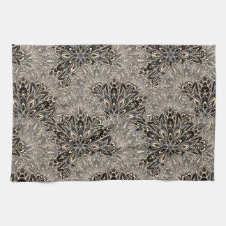Dark mandala pattern. tea towel
