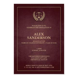 Dark Maroon+Gold Law School/Legal Graduation 13 Cm X 18 Cm Invitation Card