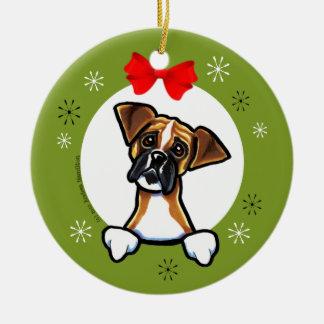 Dark Masked Fawn Boxer Christmas Classic Ceramic Ornament