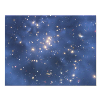 Dark Matter Ring and Galaxy Cluster in Cobalt Blue 11 Cm X 14 Cm Invitation Card