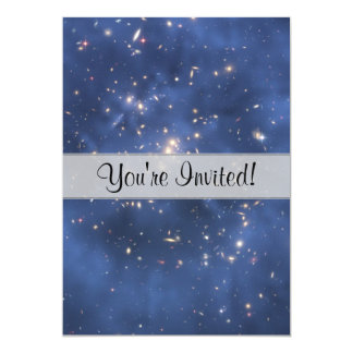 Dark Matter Ring and Galaxy Cluster in Cobalt Blue 13 Cm X 18 Cm Invitation Card