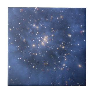 Dark Matter Ring and Galaxy Cluster in Cobalt Blue Small Square Tile