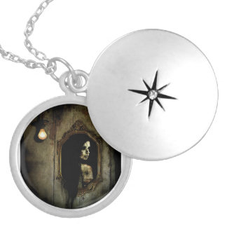 Dark Medallion Round Locket Necklace
