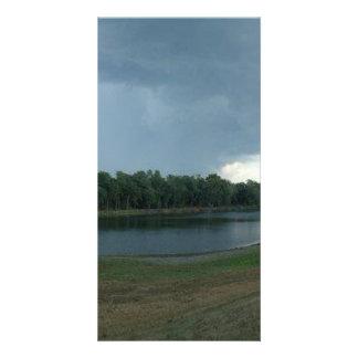 Dark Menacing Storm Cloud over a Lake valley Personalised Photo Card