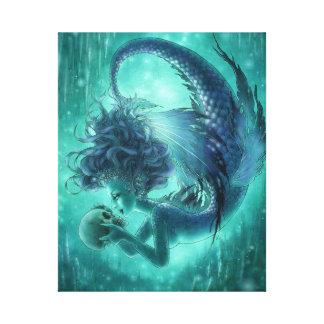 Dark Mermaid Wrapped Canvas Print - Secret Kisses
