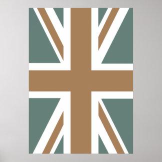 Dark Metallic Iron Union Jack British(UK) Flag Print