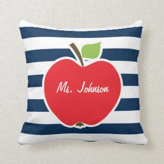 Dark Midnight Blue Horizontal Stripes; Apple Cushion