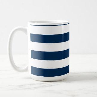 Dark Midnight Blue Horizontal Stripes Basic White Mug