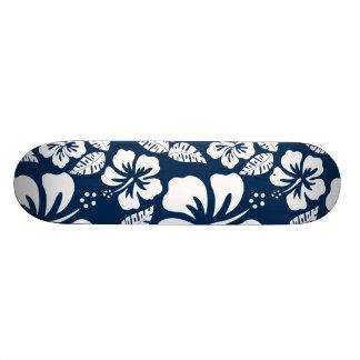 Dark Midnight Blue Tropical Hibiscus Flowers 21.3 Cm Mini Skateboard Deck