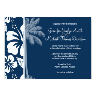 Dark Midnight Blue Tropical Hibiscus; Palm Cards