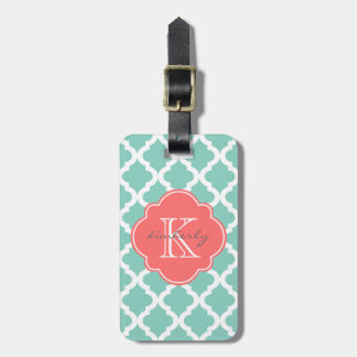Dark Mint and Coral Moroccan Quatrefoil Print Luggage Tag