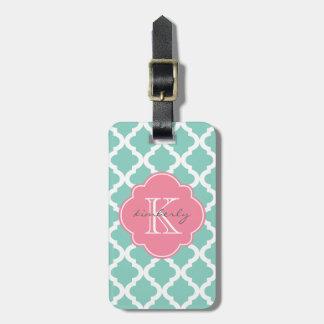Dark Mint and Rose Pink Moroccan Quatrefoil Print Luggage Tag