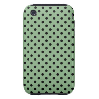 Dark Mint Green and Black Polka Dots iPhone 3 Tough Covers