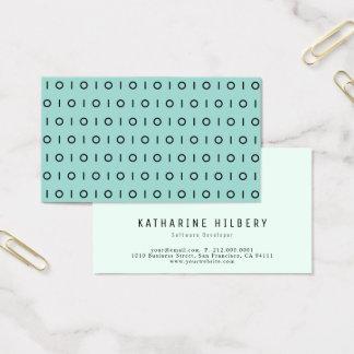 Dark Mint Green Black 01 Pattern Business Card
