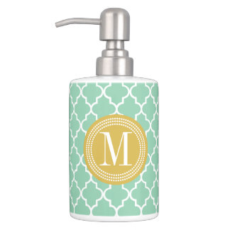 Dark Mint Moroccan Tiles Lattice Personalized Soap Dispenser And Toothbrush Holder