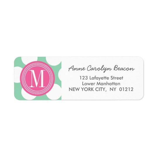 Dark Mint & Pink| Big Polka Dots Monogrammed Return Address Label