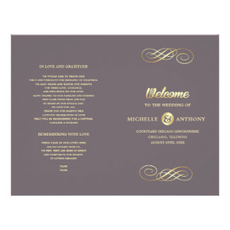 Dark Mocha | Gold Elegant Folded Wedding Program Flyer