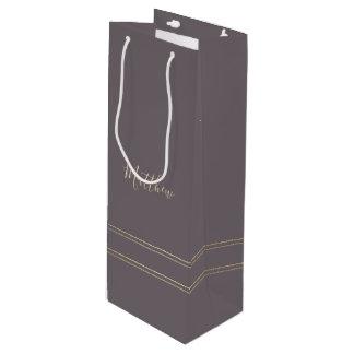 Dark Mocha | Gold Elegant Wedding Favor Wine Bags