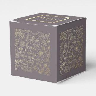 Dark Mocha | Gold Floral Wedding Favor Boxes