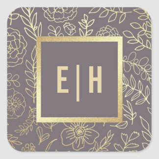 Dark Mocha | Gold Foil Monogram Wedding Stickers