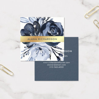 Dark Modern Floral with Faux Gold Look Square Business Card