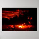 dark moody red sunset sky poster