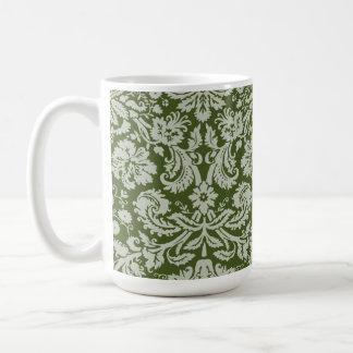 Dark Moss Green Damask Basic White Mug