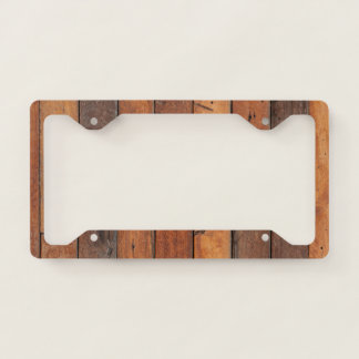 Dark  Natural Wood Panel Licence Plate Frame