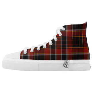 Dark Navy and Dark Red in Plaid High Top Sneakers