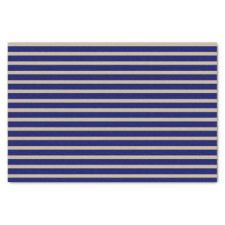 Dark Navy Blue and Beige Stripes Tissue Paper