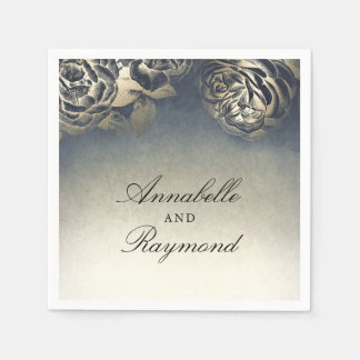 Dark Navy Blue and Gold Foil Flowers Disposable Napkin