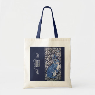 Dark Navy Blue Rabbit Monogrammed Floral Tote Bag