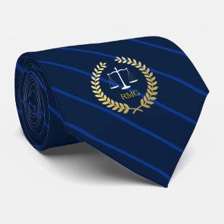 Dark Navy Stripes Custom Initials Lawyer Tie