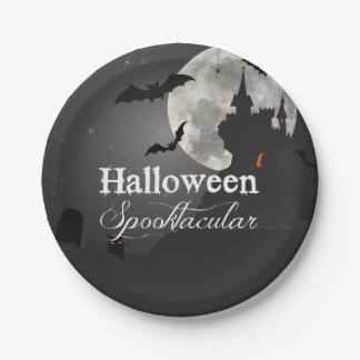 Dark Night Halloween Spooktacular Party Paper Plate