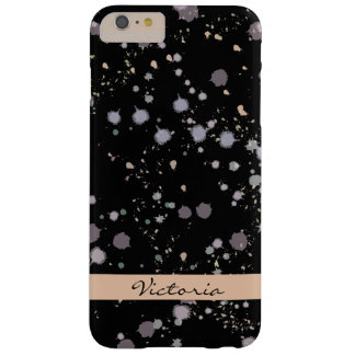 Dark Night Ink Spatter/ Wash Monogram Barely There iPhone 6 Plus Case