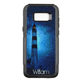 Dark night with lighthouse and raindrops add name OtterBox commuter samsung galaxy s8+ case