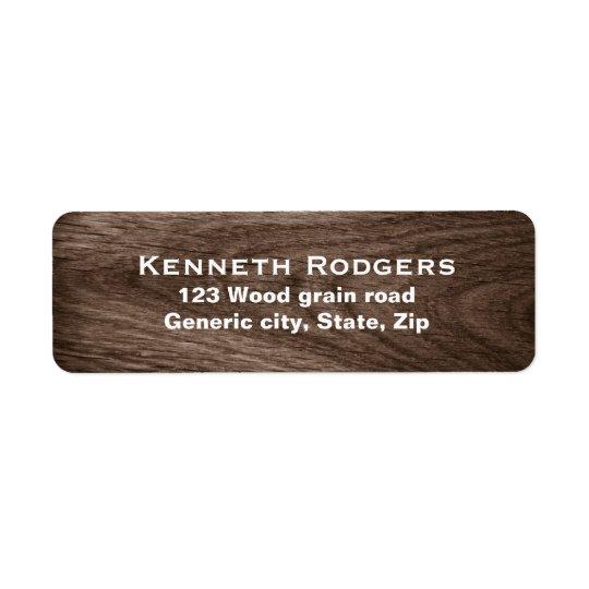 Dark oak wood grain custom return address label